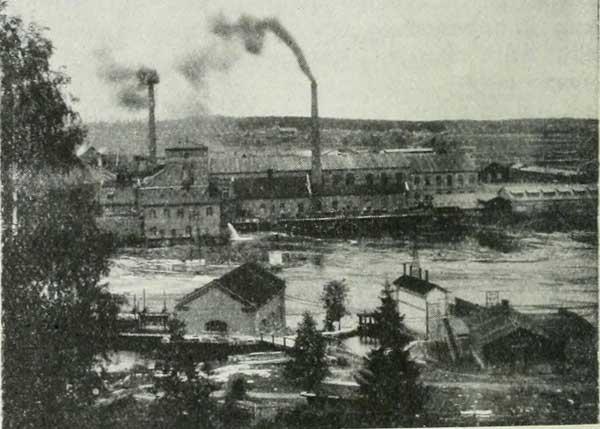 Voikkaan tehtaiden voimalaitokset 1909. Kuva: Tietosanakirja (1909)